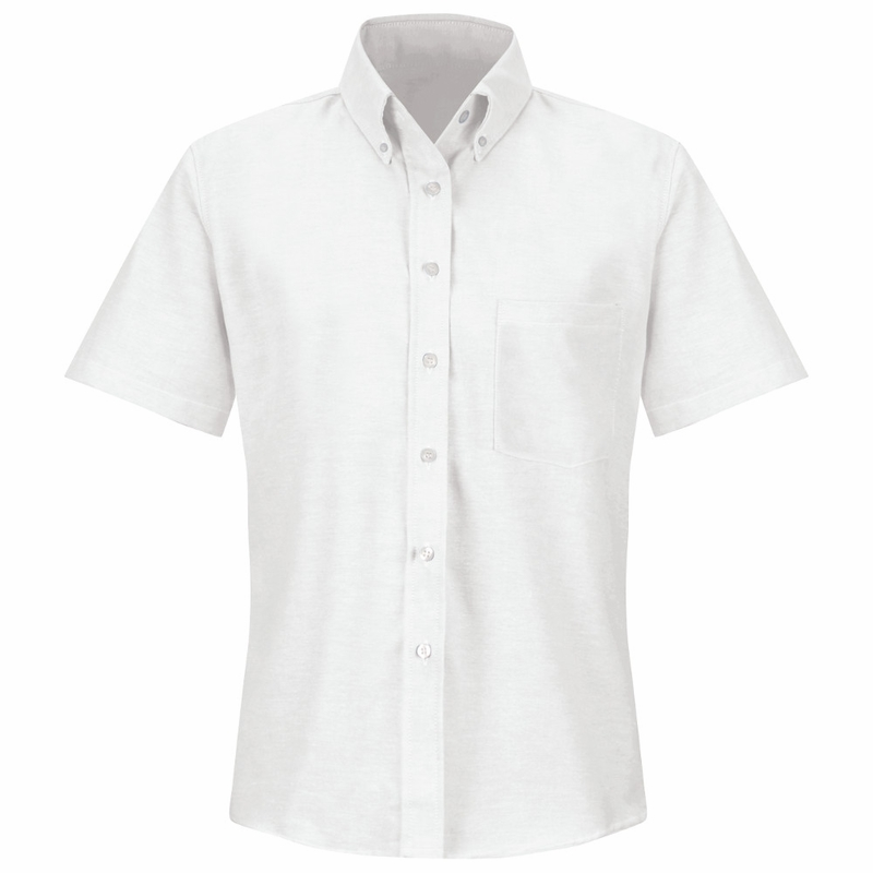Ladies short sleeve button down oxford shirt